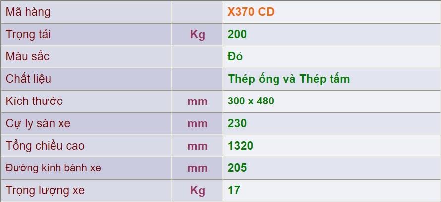 thông số kỹ thuật xe đẩy 2 bánh